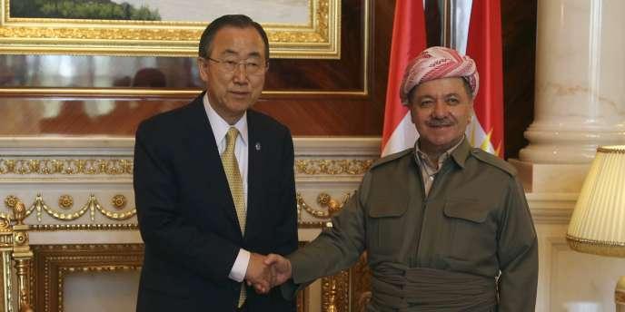 Massoud Barzani, le président de la région kurde d'Irak avec le secrétaire général des Nations unies, Ban Ki-moon, le 24 juillet 2014.