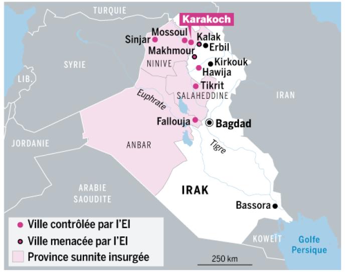 Carte de l'avancée des djihadistes en Irak.