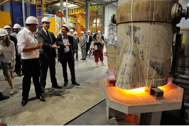 Arnaud Montebourg, alors ministre du redressement productif, sur le site de la fonderie Loiselet à Dreux (Eure-et-Loir), le 16 juillet 2013.
