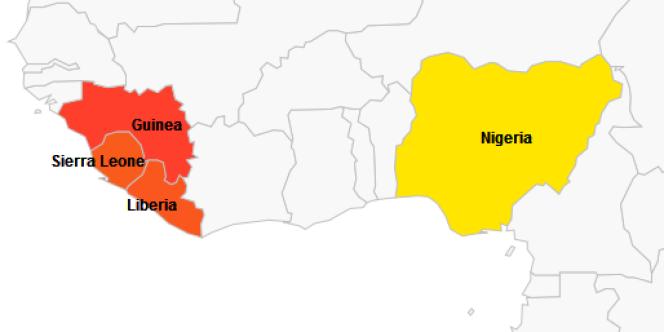Pays touchés par l'épidémie de fièvre Ebola en 2014.