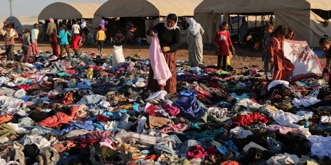 Dans un camp de réfugiés yézidis à Derike en Syrie, le 12 août.