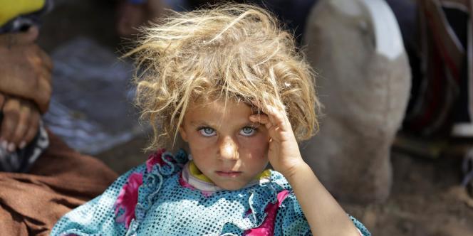 Une réfugiée yézidie près de la frontière entre l'Irak et la Syrie, le 13 août.