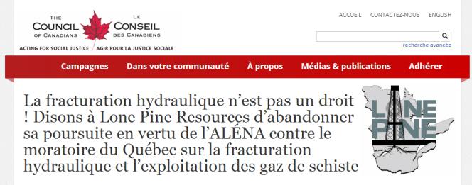 Campagne du Conseil des Canadiens contre la plainte de Lone Pine sur le gaz de schiste.