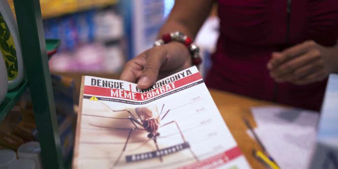 Un bénévole distribue un formulaire d'information à Fort-de-France, le 10 juillet 2014.