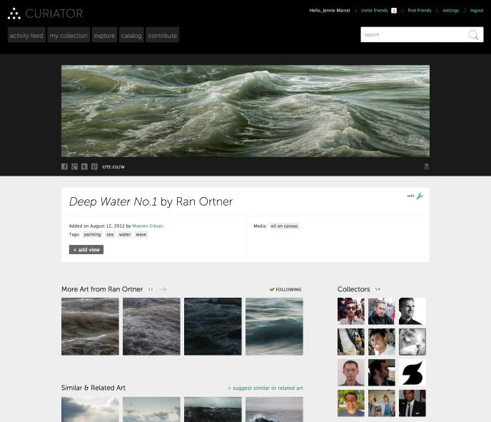 Une capture d'écran du site Curiator.