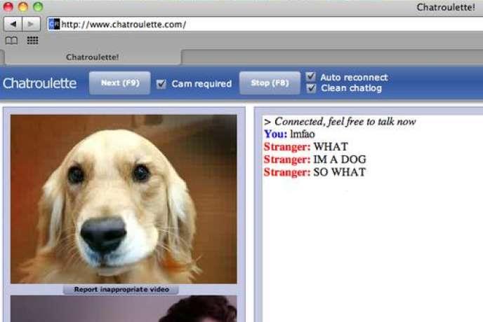 Une copie d'écran de Chatroulette, site de messagerie instantanée et aléatoire.