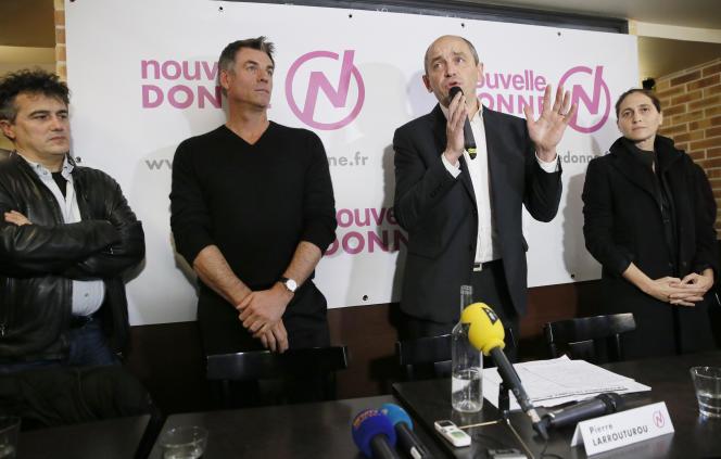 Lancement de Nouvelle Donne, le 28 novembre 2013, avec Patrick Pelloux, Bruno Gaccio, Pierre Laarouturou et Cynthia Fleury.