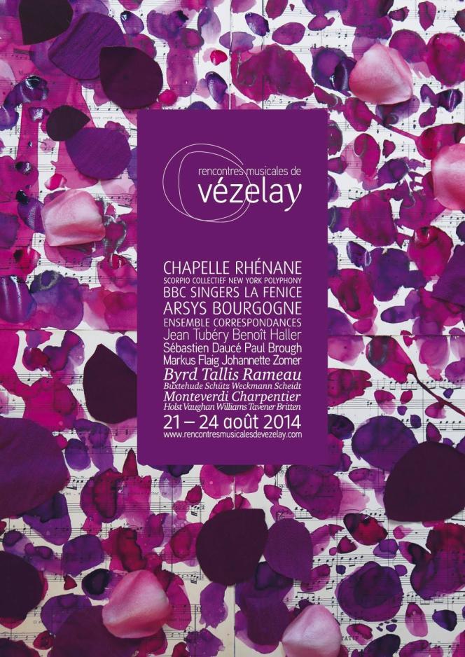Affiche des Rencontres musicales de Vézelay (Yonne), du 21 au 24 août 2014.