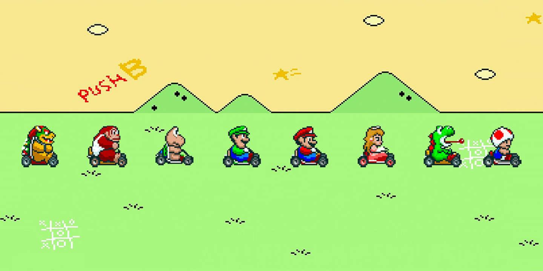 Super Mario Kart sur Super Nintendo.