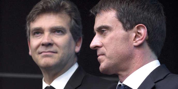 Arnaud Montebourg et Manuel Valls, à Gennevilliers (Hauts-de-Seine), en avril 2014.