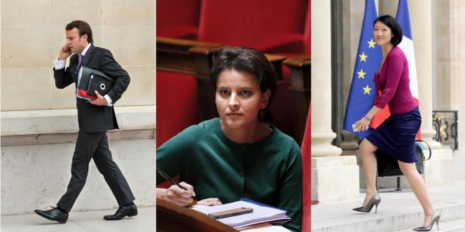 Emmanuel Macron, Najat Vallaud-Balkacem et Fleur Pellerin.