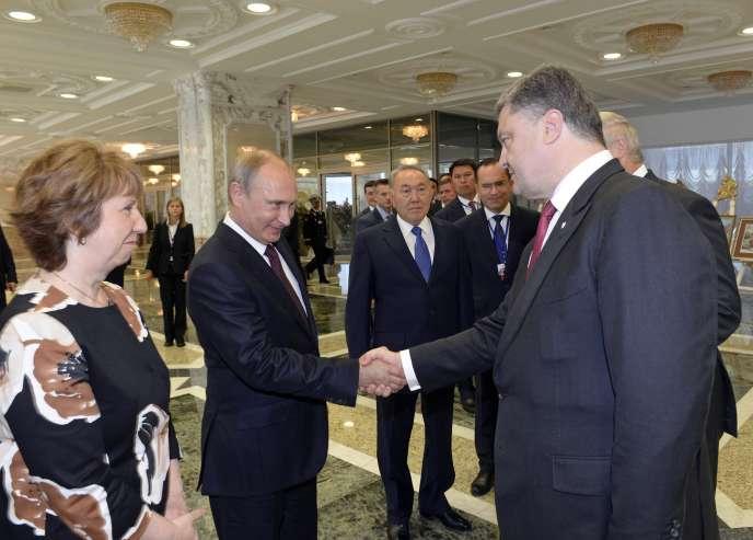Vladimir Poutine et Petro Porochenko, le 23 août à Minsk.