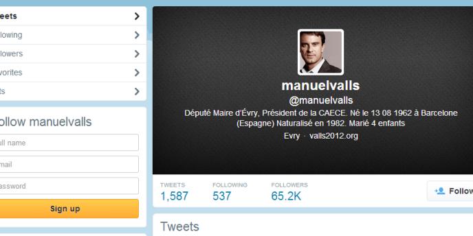 Capture d'écran d'une version archivée du compte Twitter de Manuel Valls
