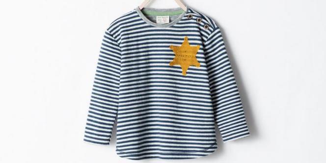 La chaîne de prêt-à-porter espagnole a retiré de son site internet un tee-shirt au stylisme douteux : une marinière pour enfants portant une étoile jaune sur le côté.