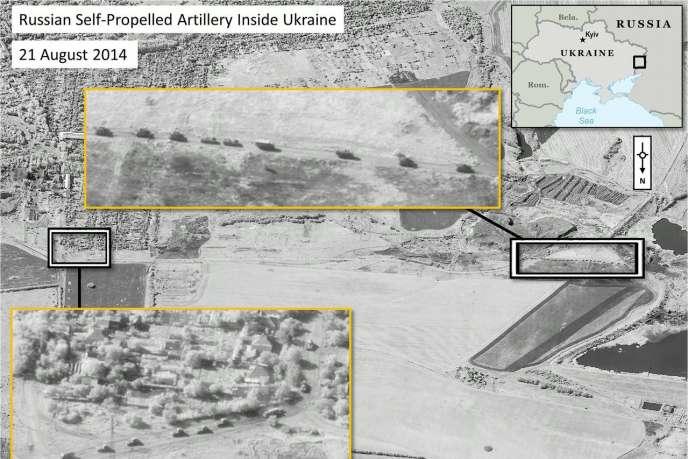 Images fournies par l'OTAN montrant ce qu'elle affirme être des chars russes qui ont pénétré en Ukraine.