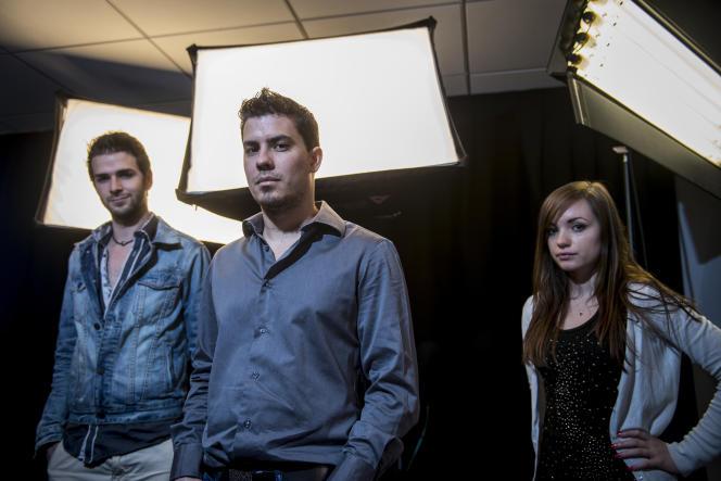 Julien Thierry (au centre), le fondateur d'Eclypsia, start-up lancée à Ashford en 2012, et deux de ses salariés.