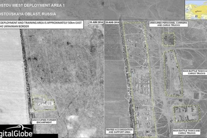 Image satellite fournie par l'OTAN, montrant la présence de convois militaires russes en Ukraine, selon l'organisation internationale.