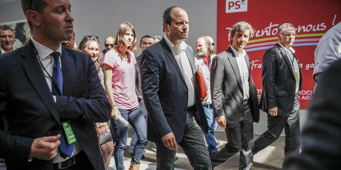 Jean-Christophe Cambadélis et David Assouline participent à la séance d'ouverture de l'université d'été du Parti socialiste à La Rochelle, vendredi 29 août 2014.