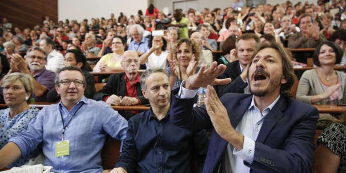 La Rochelle, le 30 août - Les frondeurs (de gauche à droite) Christian Paul, Laurent Baumel et Jérôme Guedj.