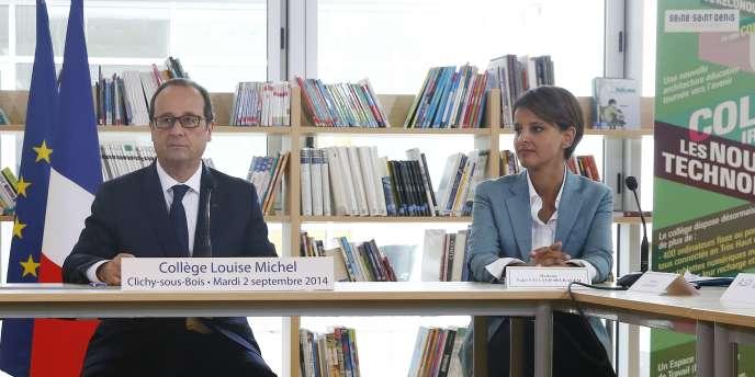 Le président de la République, François Hollande, et la ministre de l'éducation, Najat Vallaud-Belkacem, à Clichy-sous-Bois, le 2septembre.