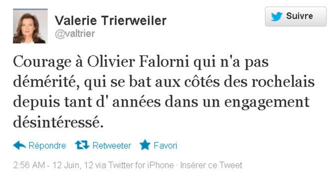 Le tweet de Valérie Trierweiler soutenant Olivier Falorni.