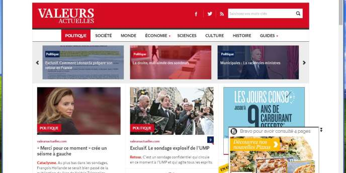 Capture d'écran du site de «Valeurs actuelles».