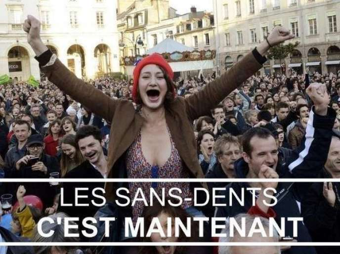 Détournement d'une image de la victoire de François Hollande par des militants