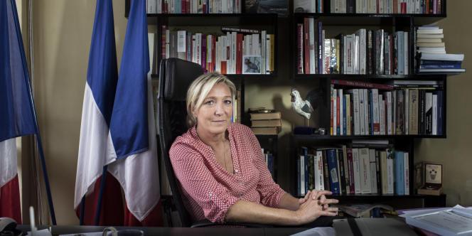 Marine Le Pen, au siège du FN, à Nanterre, le 4 septembre.