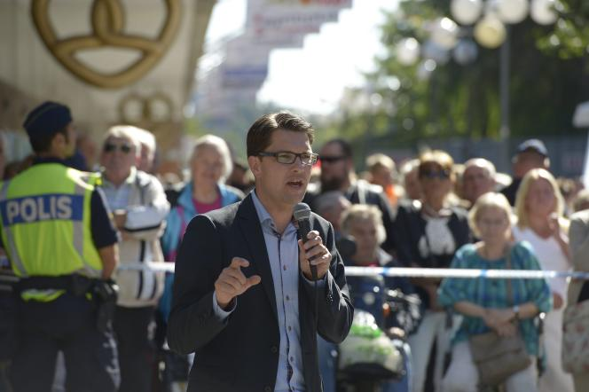 Jimmie Akesson, le président des démocrates de Suède, le 4 septembre à Södertälje.