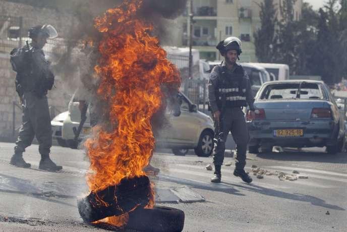 Dans l'est de Jérusalem, le 7 septembre, lors de heurts entre la police israélienne et des Palestiniens protestant contre la mort d'un adolescent.