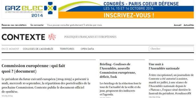 Capture d'écran du site d'information Contexte, lancé fin 2013.