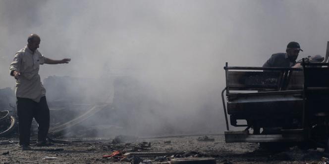 Dans un quartier de Rakka après un bombardement, le 6septembre.
