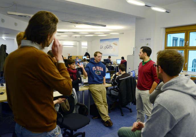 Dans les locaux de DropGifts, une des start-up lancées par Rocket Internet, à Berlin, en 2012.
