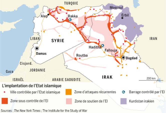 Carte de l'implantation de l'Etat islamique.