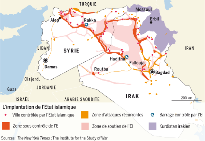 Carte de l'implantation de l'Etat islamique.