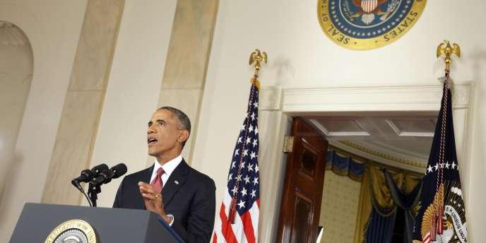 Barack Obama présentant son plan de lutte contre l'Etat islamique, le 10 septembre.
