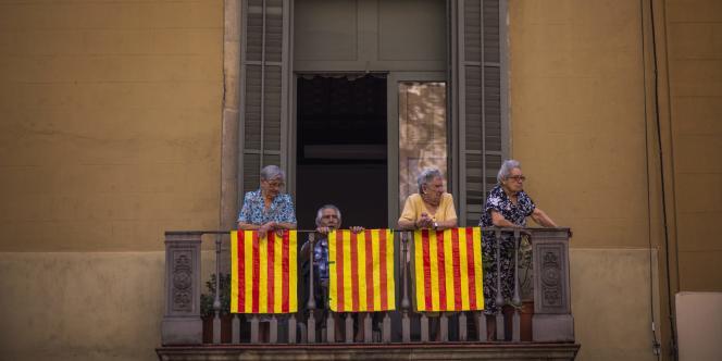 Manifestation en faveur de l'indépendance de la Catalogne, le 11septembre.