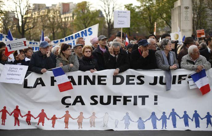 Manifestation du CRIF en souvenir des victimes de Mohammed Merah, à Paris, en mars 2014.