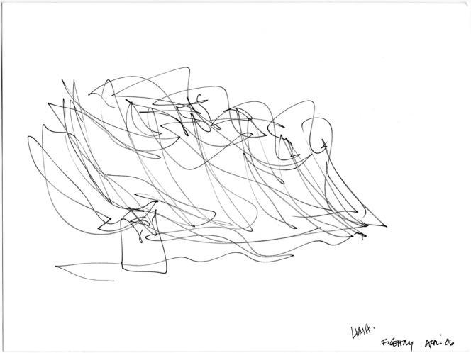 L'architecte continue de dessiner ses projets au crayon, à main libre. Ici, une esquisse de projet pour la Fondation Louis Vuitton.