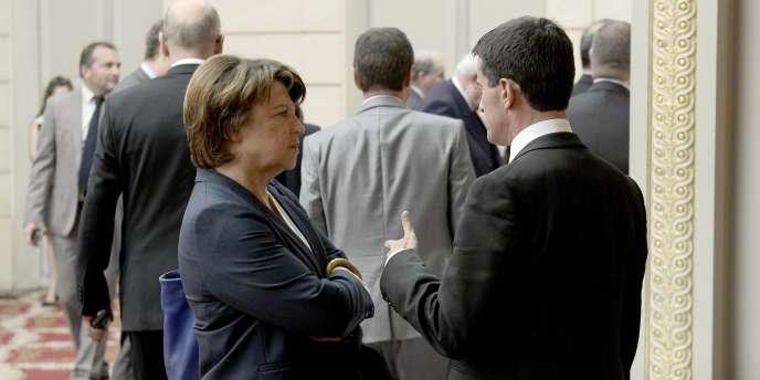 Martine Aubry et Manuel Valls à Paris, le 11septembre.