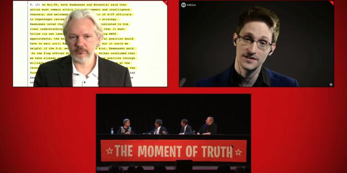 Julian Assange, Edward Snowden et Gleen Greenwald étaient réunis lors d'une conférence organisée par Kim Dotcom et Internet Mana, ce 15 septembre.