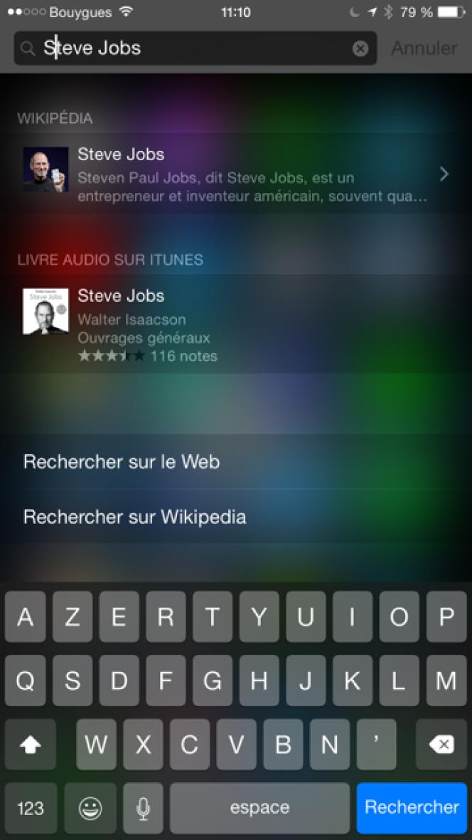 La recherche élargie d'iOS 8.
