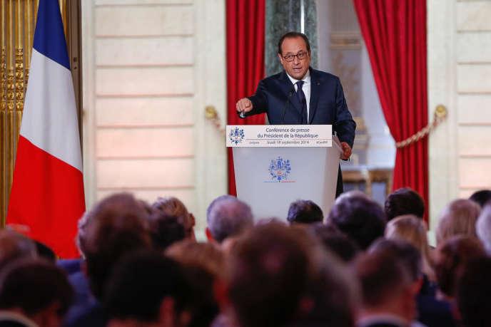 Conférence de presse de François Hollande à l'Elysée, jeudi 18 septembre.