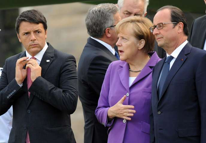Le président du Conseil italien Matteo Renzi, la chancelière allemande Angela Merkel et le président de la République française François Hollande, le 5 septembre, lors du sommet de l'OTAN, à Newport (Pays-de-Galles).