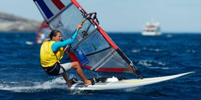 Charline Picon, lors des championnats du monde de voile à Santander, le 17 septembre.