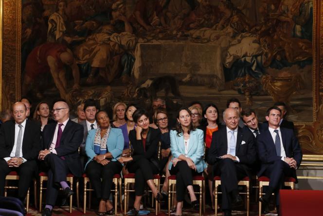 Le gouvernement assiste à la conférence de presse de François Hollande, le 18 dseptembre 2014.