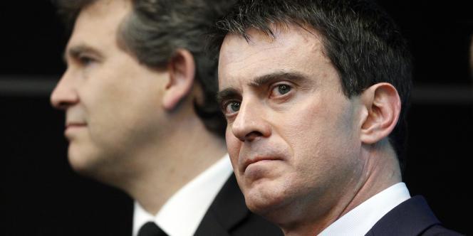 Manuel Valls et Arnaud Montebourg à Gennevilliers le 10 avril.