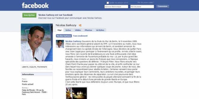 Le message Facebook de Nicolas Sarkozy sur la chute du mur de Berlin.