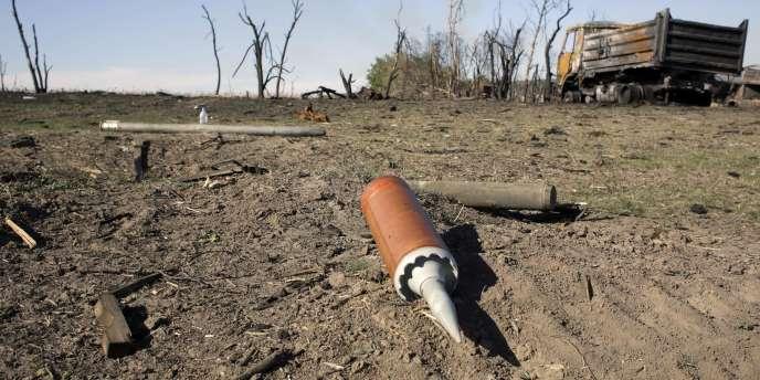 Des munitions non utilisées à Dmytryivka, dans l'est de l'Ukraine, le 19 septembre.