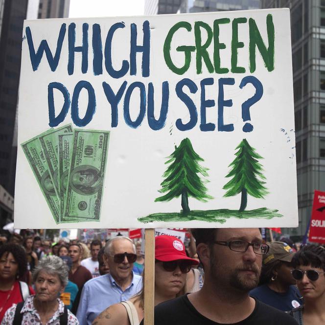 Manifestation pour de fortes avancées dans la lutte contre le changement climatique à New York, le 21 septembre 2014.